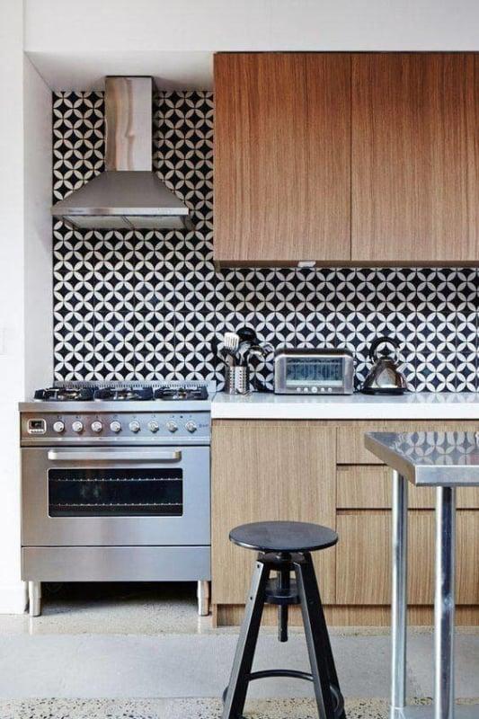 Papel contact para cozinha parede branco e preto