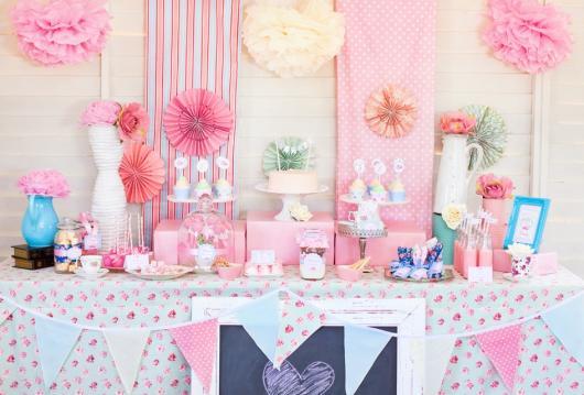 Pompom de papel crepom luxo rosa