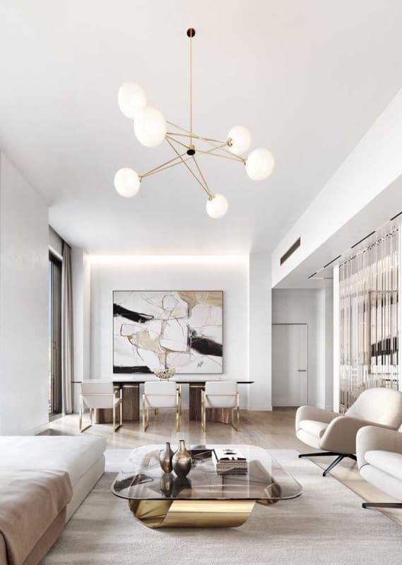 Sala elegante com Cor palha