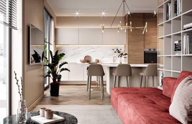 cozinha decorada com Cor palha