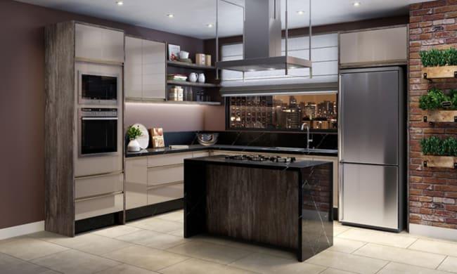 cozinha moderna com cor nude