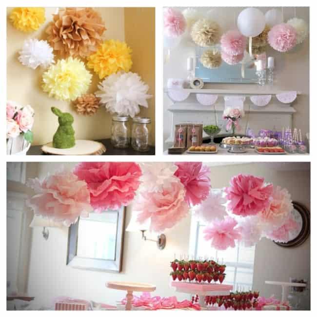 decoração com Pompom de papel crepom