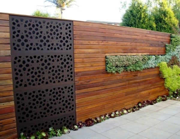 muro de madeira para jardim de inverno