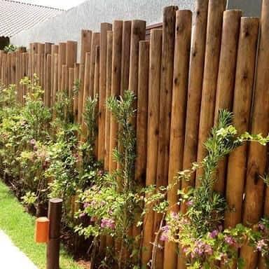muro de madeira rustica eucalipto