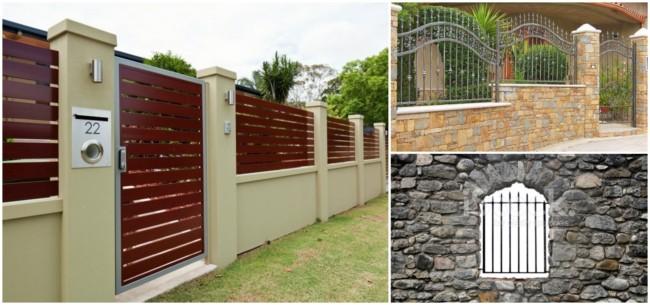 muros com diversos tipos de grades