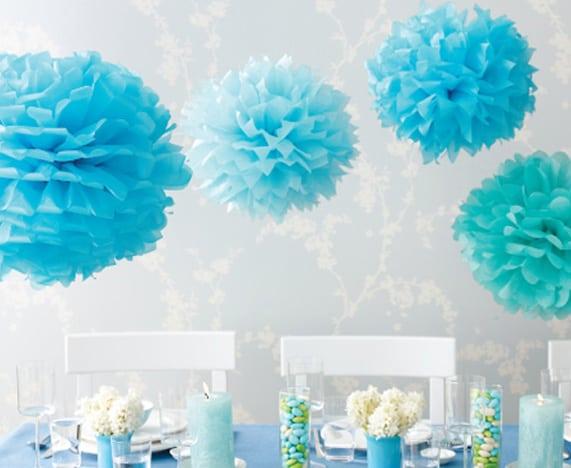 papel crepom azul na decor