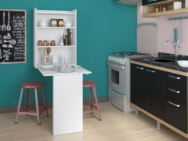 projeto com Mesa dobrável de parede para cozinha