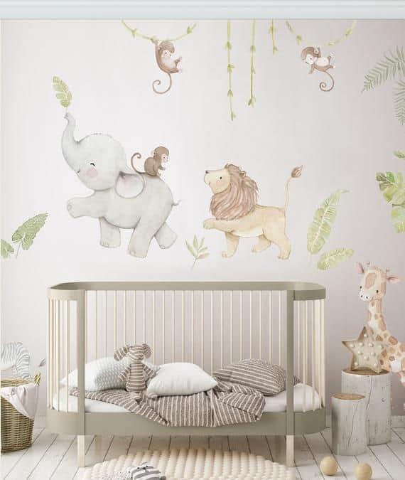 quarto de bebê safari com papel tematico