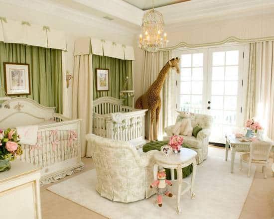 quarto de bebê safari cortinas verdes