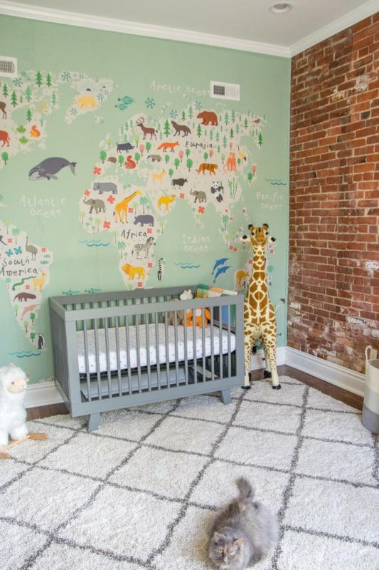 quarto de bebê safari papel de parede criativo