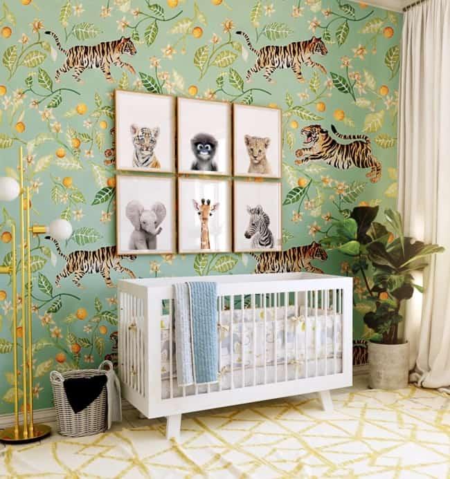 quarto de bebê safari papel de parede lindo