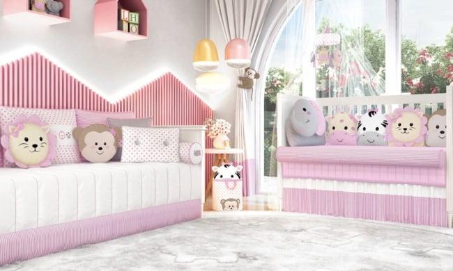 quarto de bebê safari rosa completo