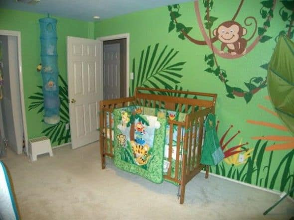 quarto de bebê safari verde decorado