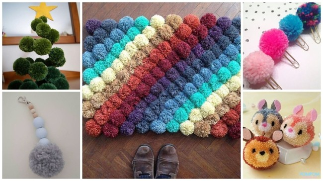 ideias com pompom de lã