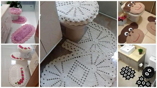 modelos de tapetes de crochê para banheiro