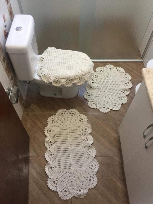 jogo de tapetes de barbante para banheiro