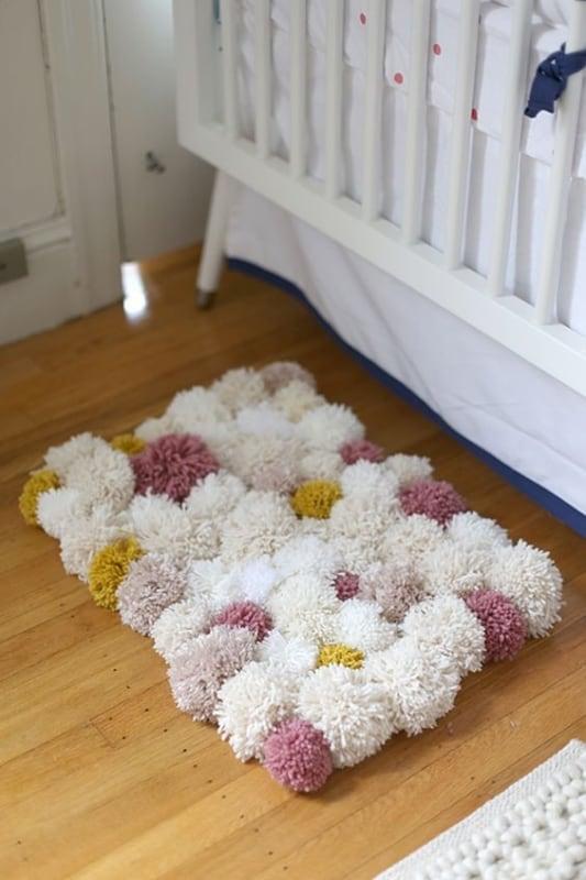 tapete retangular de pompom de lã