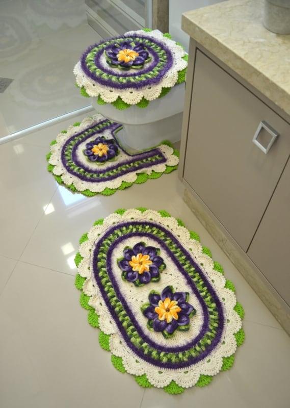 12 conjunto de tapetes de banheiro com flores para banheiro
