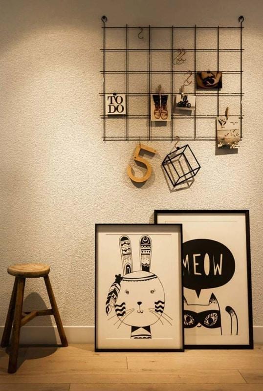 decoração com quadros preto e branco