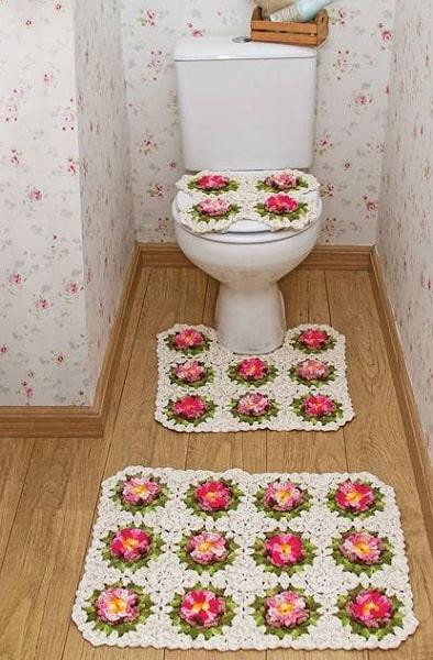 15 conjunto de tapetes com flores de barbante para banheiro