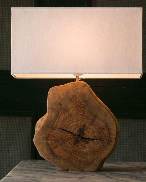 abajur com tronco de madeira