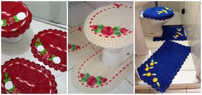 tapete de crochê com flores para banheiro