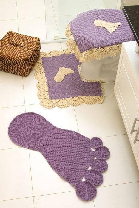 conjunto de tapetes de pezinho de crochê para banheiro