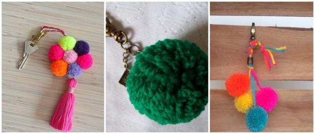 modelos de chaveiro com pompom de lã