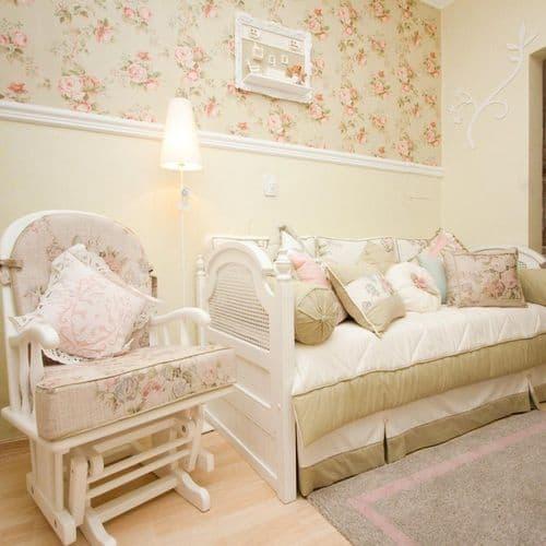 decoração de quarto provençal com cor creme