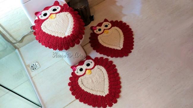 conjunto de tapetes de crochê vermelho para banheiro