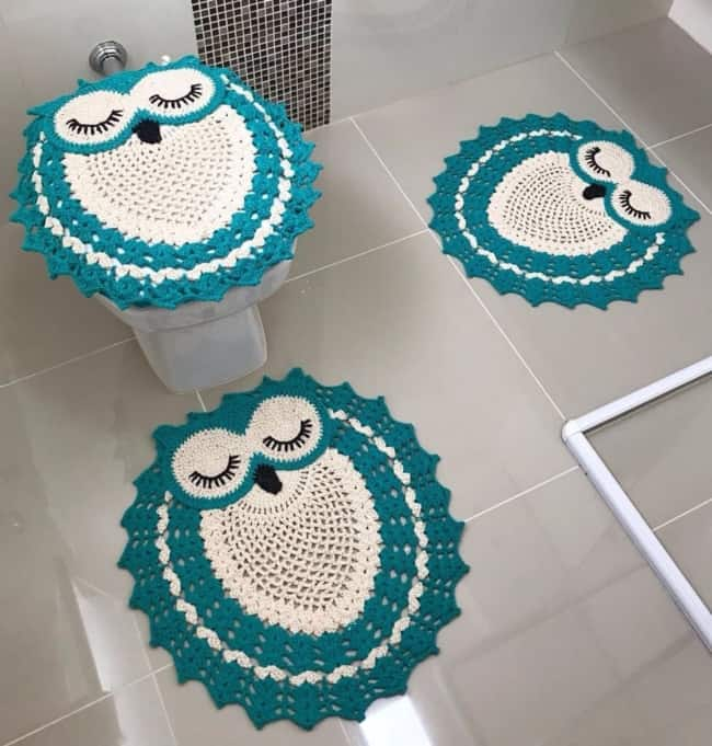 conjunto de crochê de corujinhas para banheiro