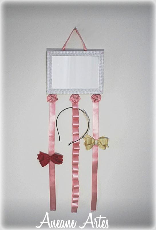 porta retrato decorado para porta laços