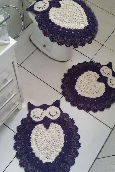 conjunto de tapetes roxo de coruja para banheiro