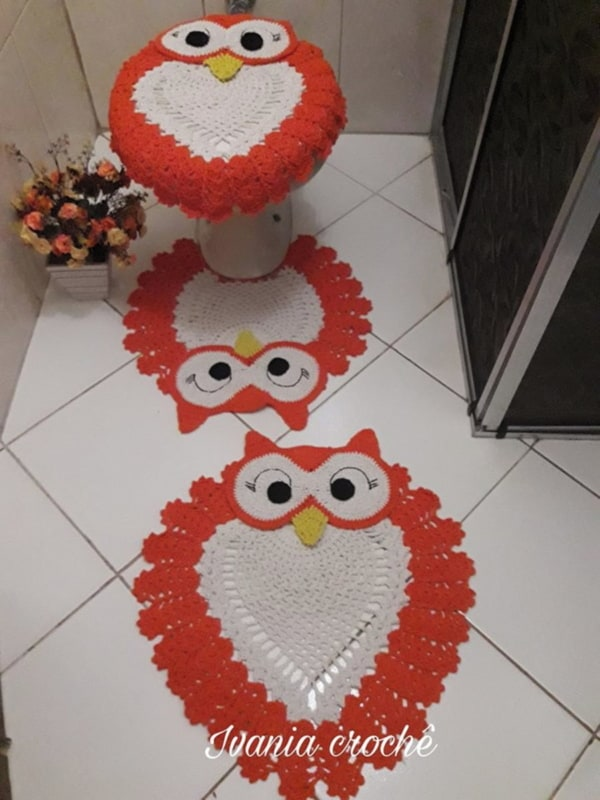 tapete de corujinha para banheiro