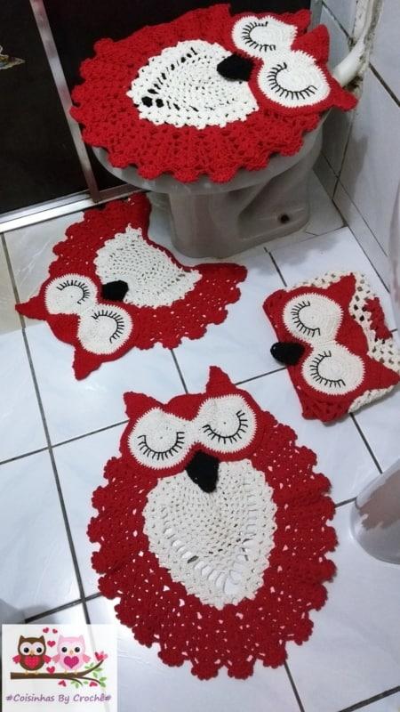 conjunto de tapetes de coruja vermelha para banheiro