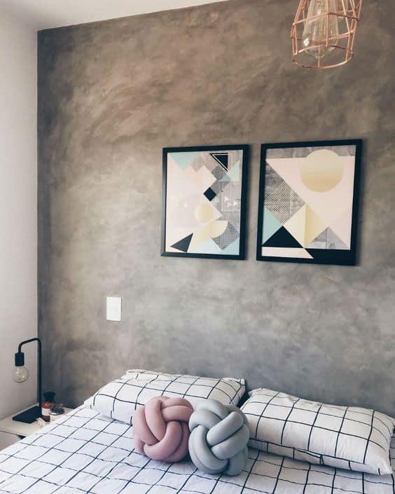 quarto tumblr com quadros geométricos