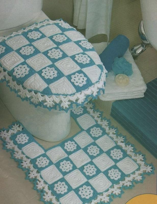 conjunto de tapetes de crochê square para banheiro