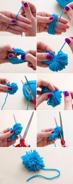 como fazer pompom de lã simples