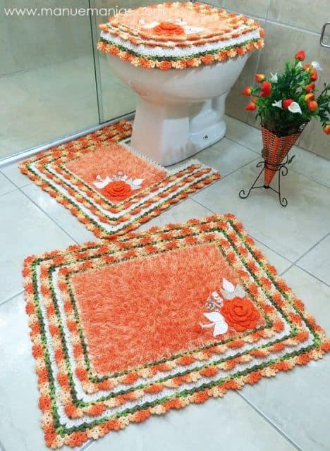conjunto de tapete de banheiro em crochê felpudo