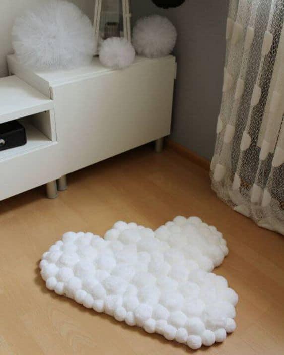 tapete de pompom de lã para quarto de bebê