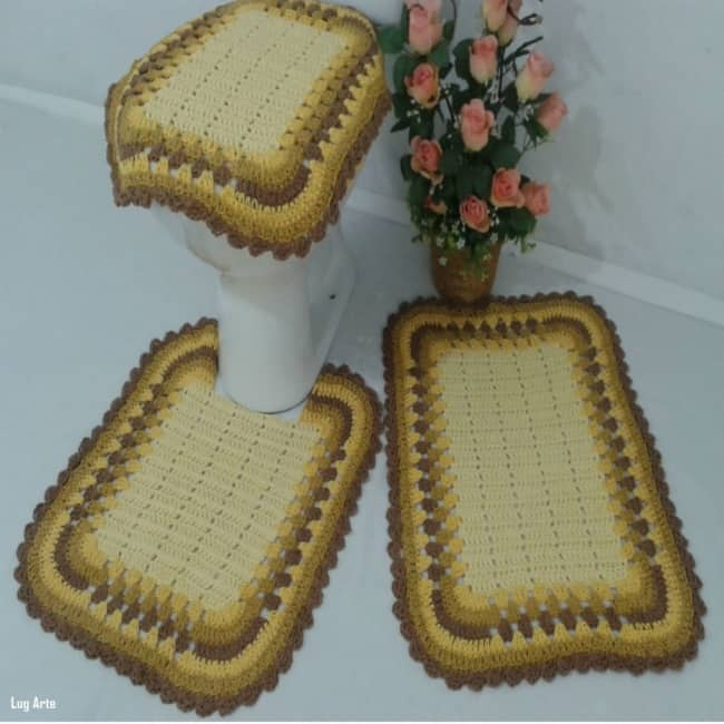 conjunto de tapete degradê de barbante
