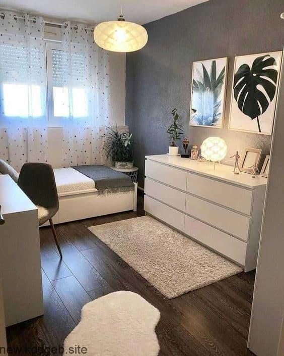 quarto decorado com quadros tumblr de plantas