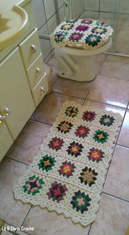 conjunto para banheiro em crochê quadradinho