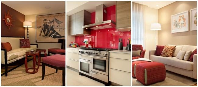 decoração em creme e vermelho