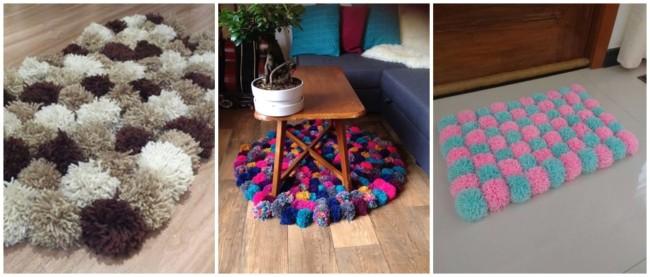 modelos de tapete com pompons de lã