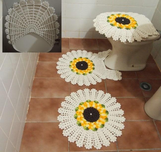 tapete de crochê de girassol para banheiro