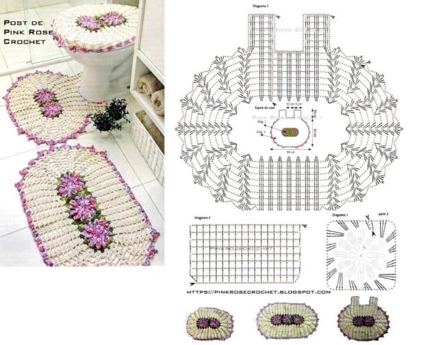 gráfico gráfico completo para tapete de crochê com flores