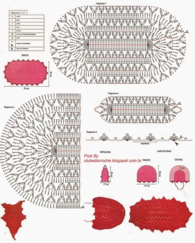 56 gráficos para tapetes de crochê para banheiro