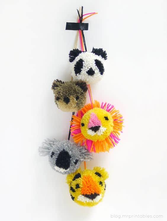 bichinhos de pompom de lã