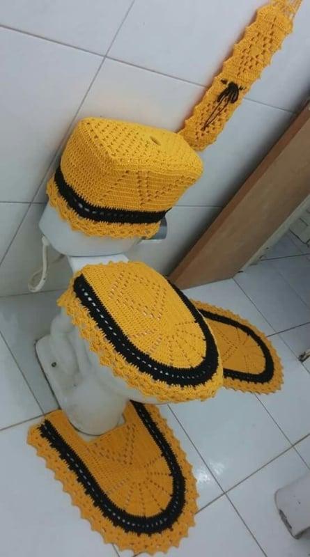 conjunto de crochê simples para banheiro